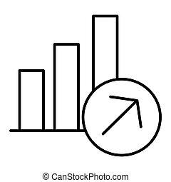 线性, 商业, 标志。, 图表, 矢量, 稀薄, 生长, 图标, 线, design., style., outline