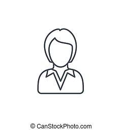 线性, 商业, 符号, businesswoman, avatar, 矢量, 稀薄的线, 女士, icon.