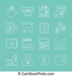 线, 放置, 金融, 图标