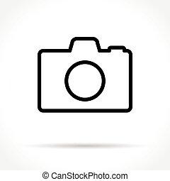 线, 照相机, 稀薄, 图标
