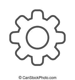 线, 矢量, 齿轮, icon., 稀薄
