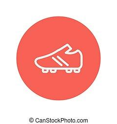 线, 足球, 鞋子, 稀薄, 图标