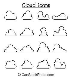 线, 风格, 云, 稀薄, 图标