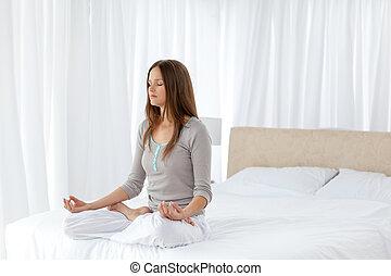 练习, 妇女, 相当, 瑜伽