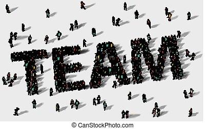 组工作, 大, 团体, 人们。