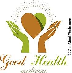 组成, 心, 使用, organizations., 医学, 离开, 关怀, 慈善, 形状, 矢量, 绿色, 恢复, ...