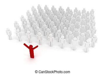 组织, 3d, 人群, 企业家