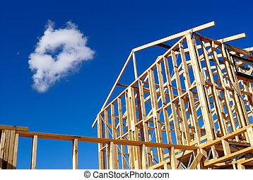 细节, 在中, 房子框架, 在建设下面