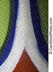 细节, 在中, a, 色彩丰富, 涂描墙壁, 带, 模式