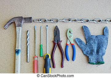 织品, 手套, 同时,, 技工, 工具, 在上, 木制的板