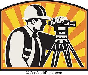 经纬仪, 测量员, 站, retro, 总数, 工程师