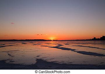 结束, 安大略, 日落, 湖