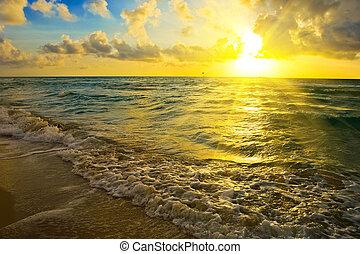 结束, 日出, 大海