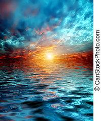 结束, 日落, 湖