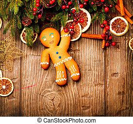 结束, 树木, 假日, 圣诞节, gingerbread人, 背景。