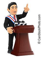 给, 3d, 政治家, investiture., 演说, 总统