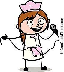 给, mic, -, 描述, 厨师, 矢量, 演说, retro, 女性, 卡通漫画, 女服务员