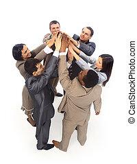 统一, -, 顶端察看, 在中, 商务人士, 带, 他们, 手一起, 在一个圆中