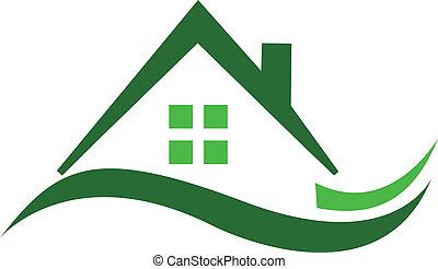 绿色的房子, 房产, 标识语