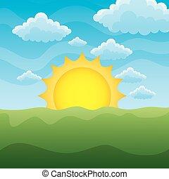 绿色的草, 草坪, 带, 日出, 在上, 蓝的天空, 性质, 背景