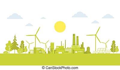 绿色, 侧面影象, 城市, 带, 风汽轮机, 清洁, 性质, 生态, 环境, 概念