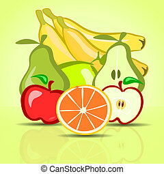 绿色, 各种各样, 背景, 水果