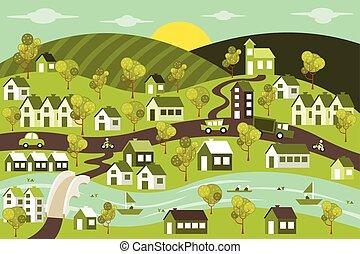 绿色, 城市, 带, 房子