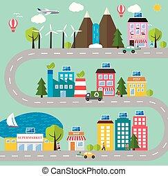 绿色, 城市, 生态, 模型