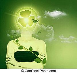 绿色, 能量, 同时,, eco, 保护, concept., 女性, 摘要, 肖像