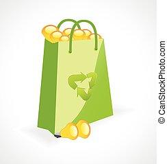 绿色, 袋子, 带, 生态学符号