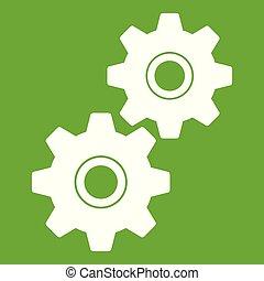 绿色, 齿轮, 图标