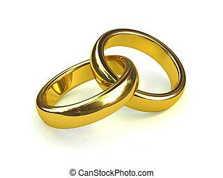 缠绕, 圆环, 二, 金子, 3d