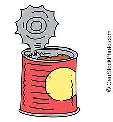 缶詰にされた食糧, イメージ, 手, 引かれる, 漫画