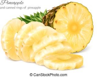 缶詰にされる, 半分, pineapple., 薄く切られる, 切口
