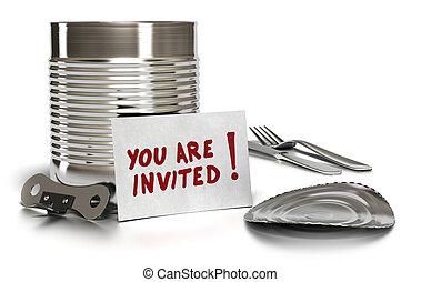 缶, ふた, フォーク, 上に, 書かれた, あなた, かん切り, 缶, 背景, 白, 招待された, カード, ナイフ