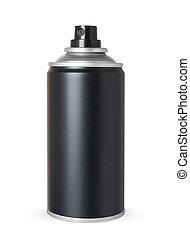 缶, スプレー, 黒, 隔離された, ブランク