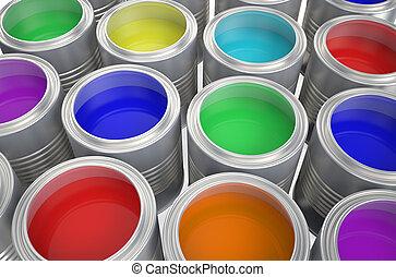 缶, ペンキ, 色