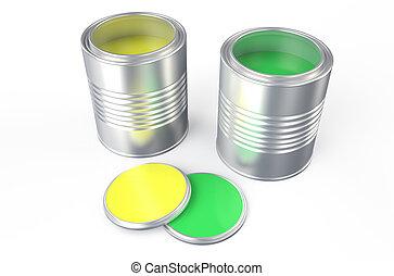 缶, 緑, 黄色のペイント