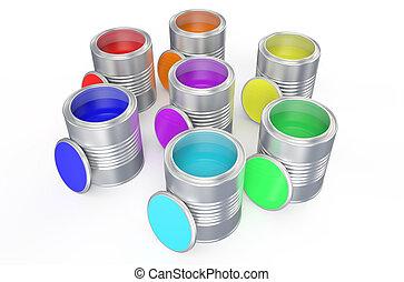 缶, 虹, 色, ペンキ