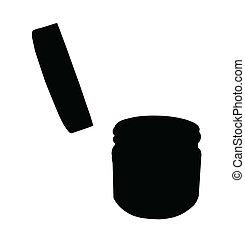 罐子, 蓋子, 隔離, 打開, 黑色半面畫像, 小