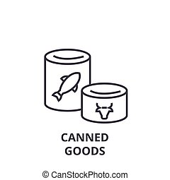 罐裝貨物, 線, 圖象, outline, 簽署, 線性, 符號, 矢量, 套間, 插圖