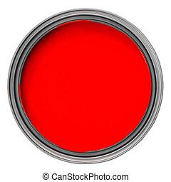 罐頭, 由于, 紅的油漆