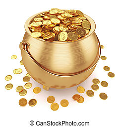 罐, 硬币, 金子