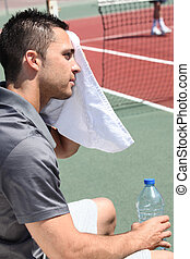 网球選手, 清掃, 在外, the, 汗, 從, 他的, 前額