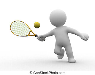 网球, 3d, 人们