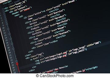 网站, 发展, 代码, -, 屏幕, 编写程序, 计算机