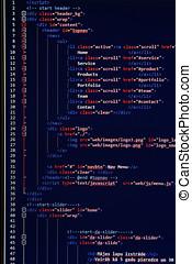 网站, 发展, -, 编写程序, 代码, 在上, 计算机屏幕