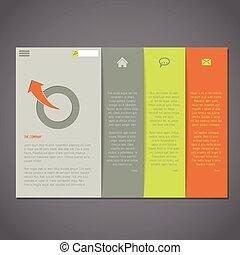 网站, 样板, 带, simplistic, 设计