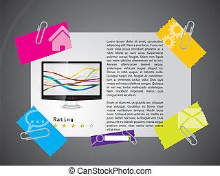 网站, 样板, 设计, 带, 产品