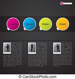 网站, 样板, 设计, 带, 图画